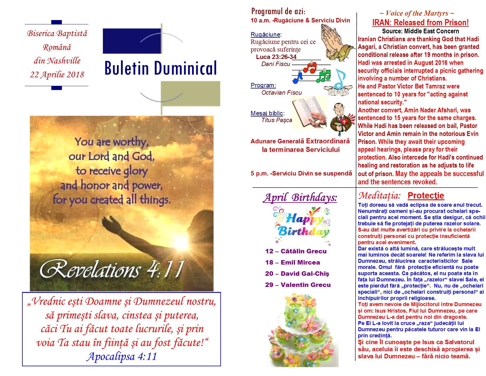 Buletin 04-22-18 page 1 & 2