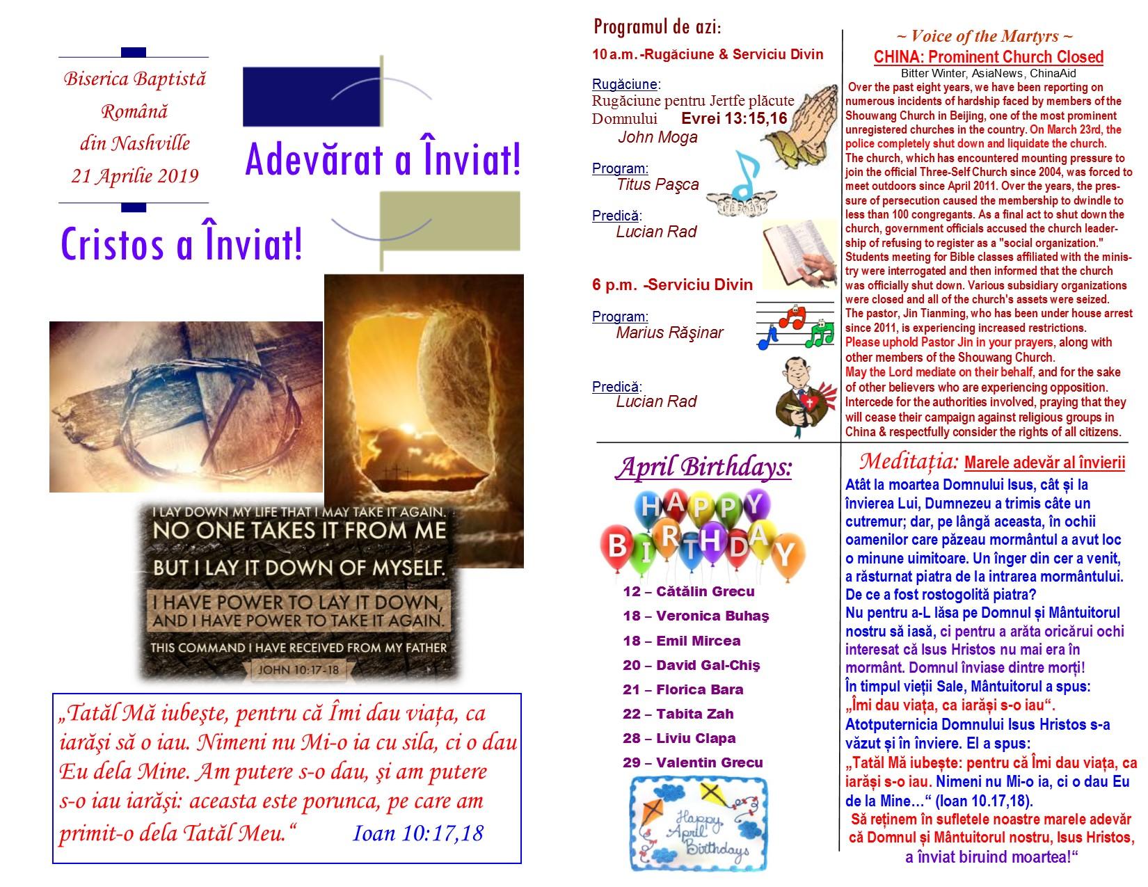 Buletin 04-21-19 page 1 & 2